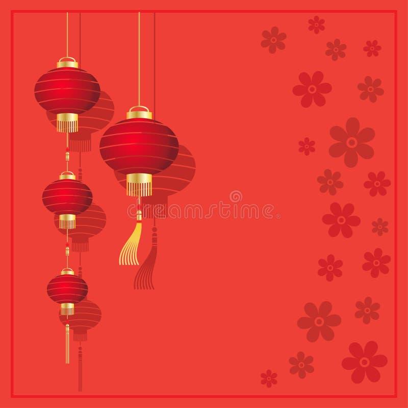 与中国灯笼的圣诞卡 库存例证