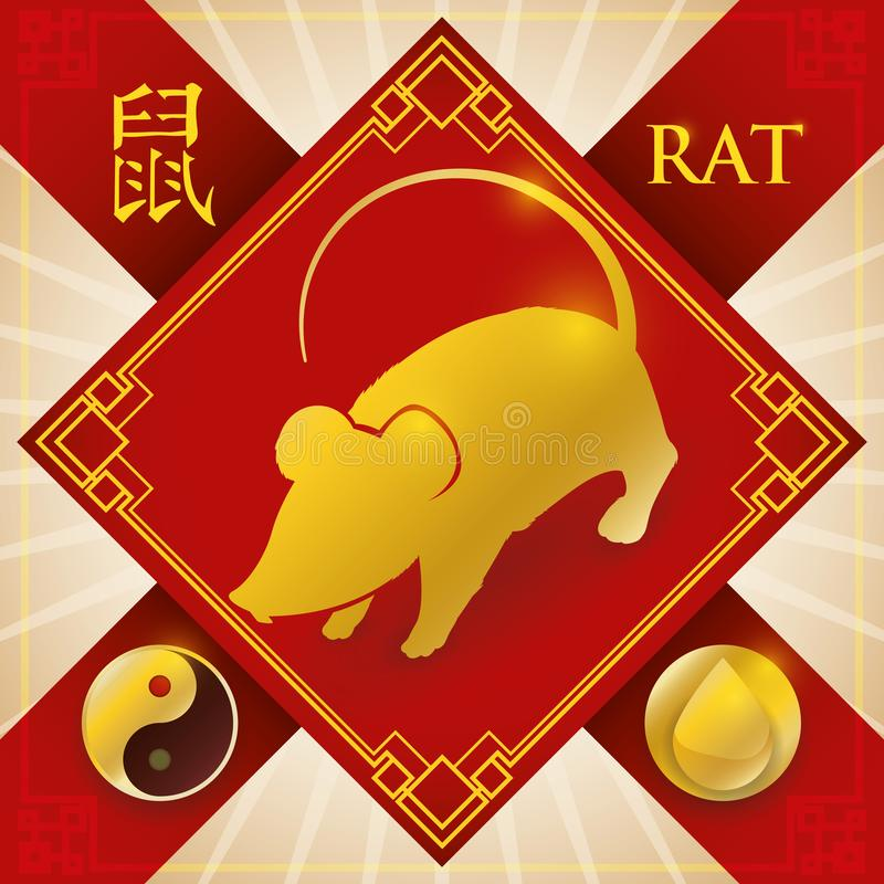 与中国黄道带鼠、水元素和杨标志,传染媒介例证的魅力 皇族释放例证