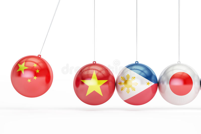 与中国,越南,菲律宾,日本的旗子的球冲突概念, 3D renderin 库存例证