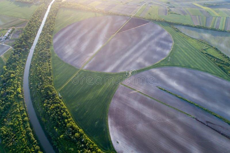与中心灌溉系统的圆的领域 免版税库存照片