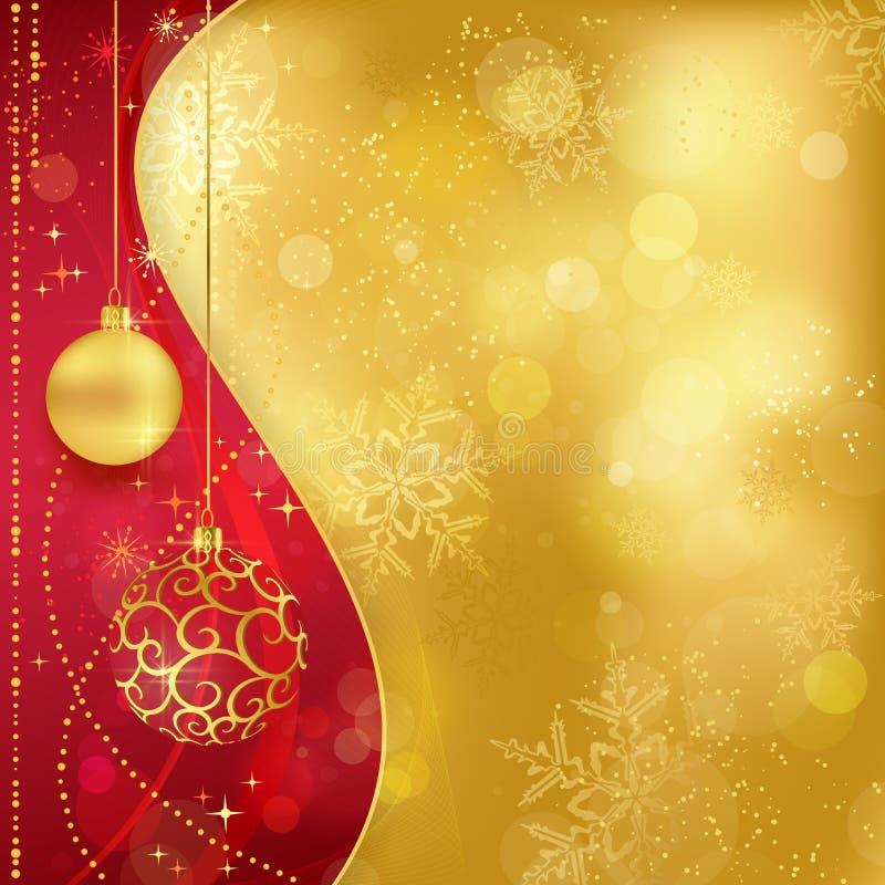 与中看不中用的物品的红色金黄圣诞节背景 向量例证