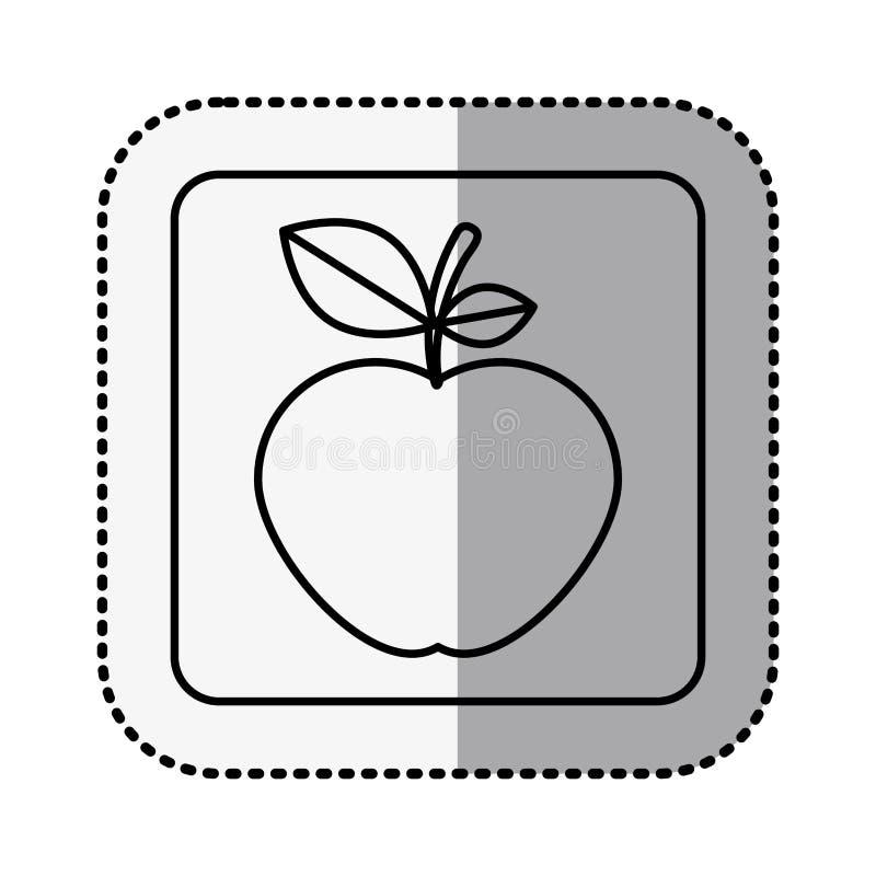 与中间阴影贴纸的单色方形的等高用苹果果子 库存例证