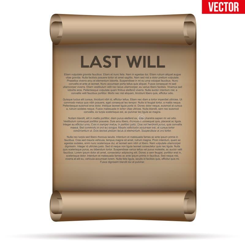 与为时的老移动的纸将和遗嘱 库存例证
