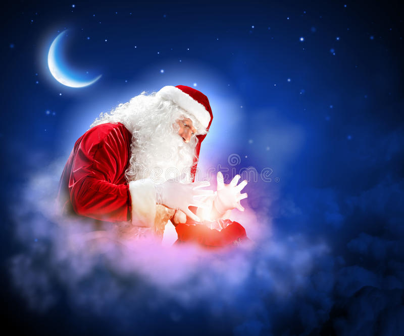与圣诞老人的圣诞节题材 库存图片