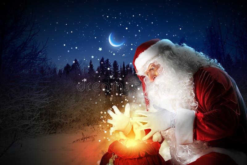 与圣诞老人的圣诞节题材 库存照片