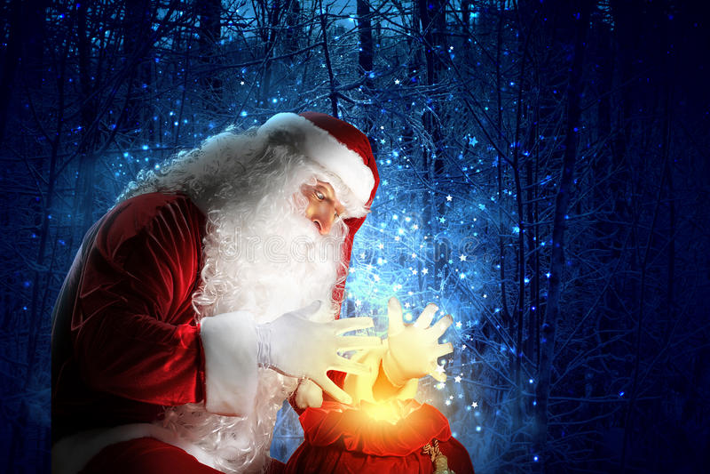与圣诞老人的圣诞节题材 免版税库存图片
