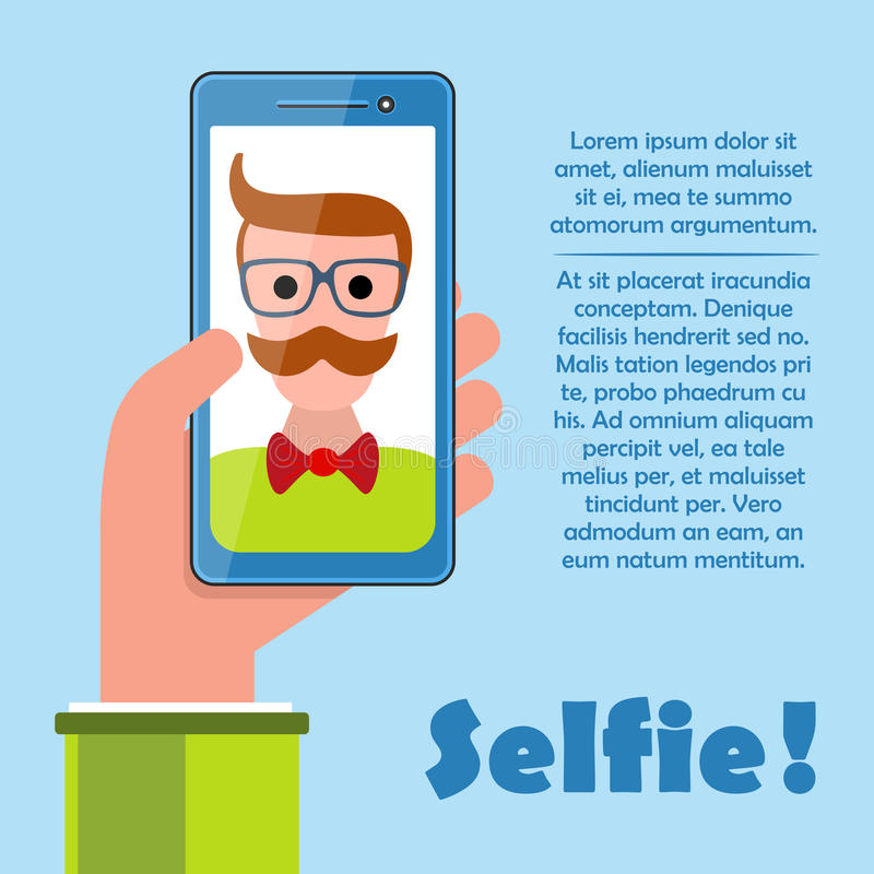 与举行智能手机传染媒介的行家的Selfie海报 库存例证