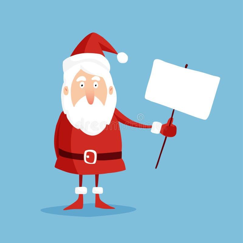 与举行透明,平的设计的圣诞老人的逗人喜爱的圣诞节贺卡, 库存例证