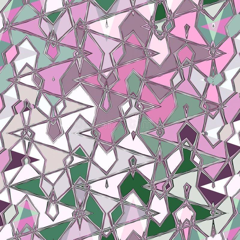 与之字形和水彩小滴的抽象稀薄的样式在绿色和桃红色 库存例证