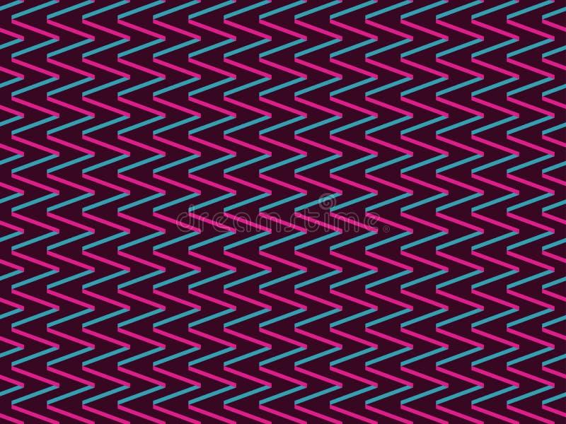 与之字形的无缝的背景在90s样式  几何的背景 向量 皇族释放例证