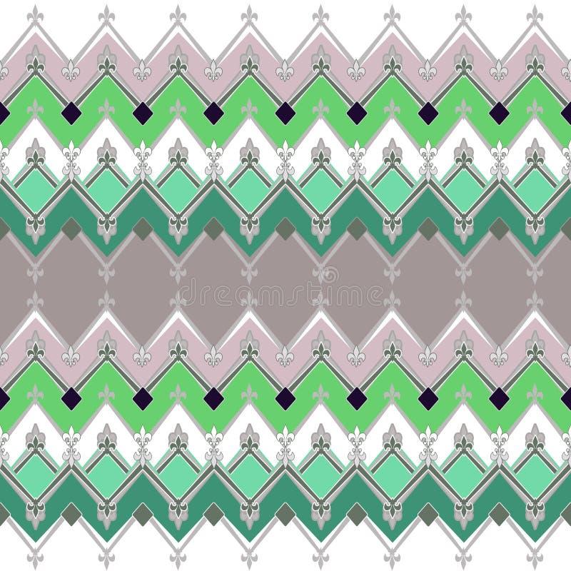 与之字形纺织品减速火箭的纹理的无缝的几何样式 向量例证