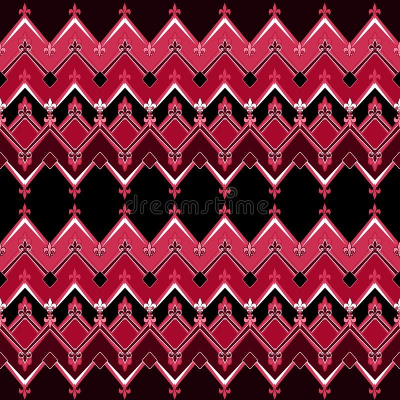 与之字形纺织品的无缝的几何样式设计减速火箭的b 皇族释放例证