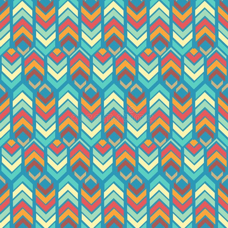 与之字形线、箭头和六角形的五颜六色的重复的样式 皇族释放例证