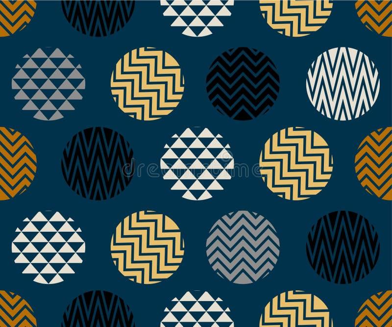 与之字形线,金子,蓝色和黑颜色圈子的无缝的样式在深蓝背景的 库存图片