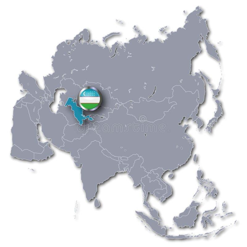 与乌兹别克斯坦的亚洲地图 库存例证