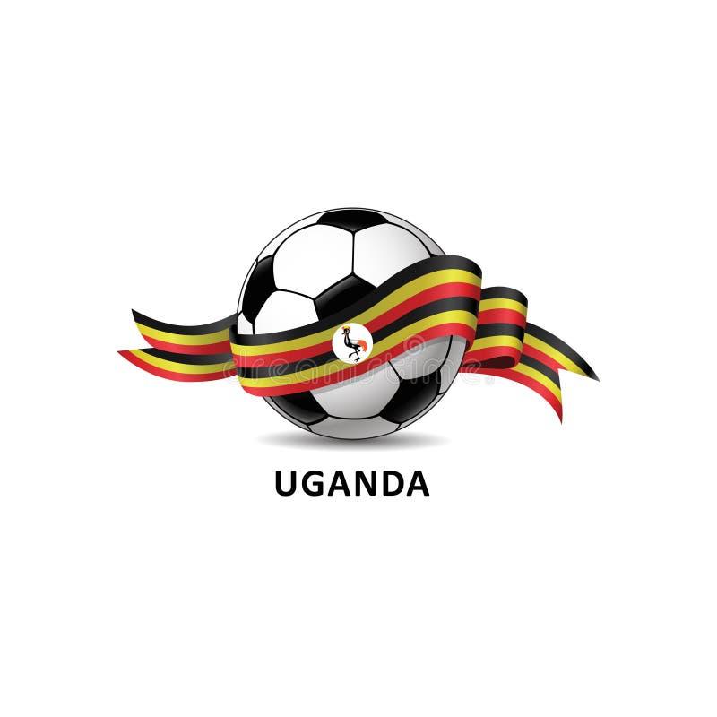 与乌干达国旗五颜六色的足迹的橄榄球球 免版税库存照片
