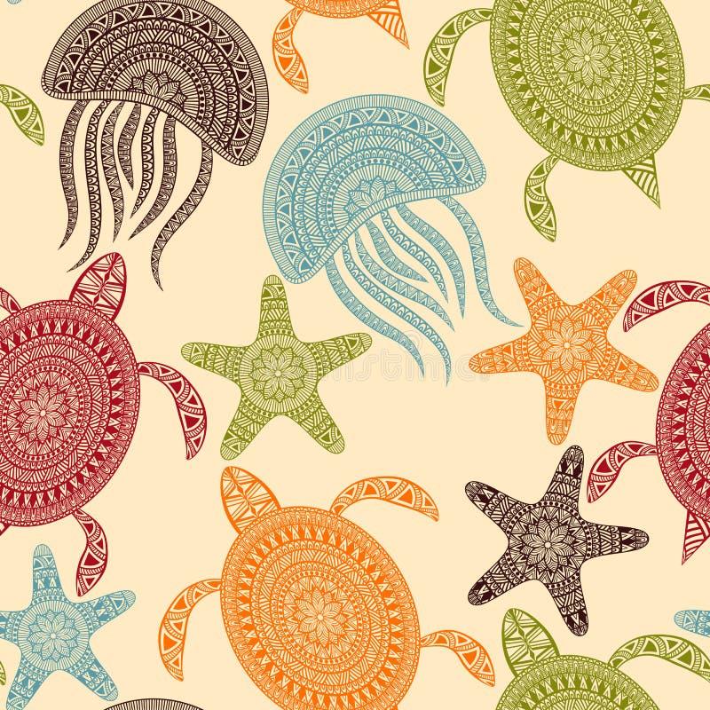 与乌龟、海星和Jellyfishe的传染媒介无缝的样式 向量例证