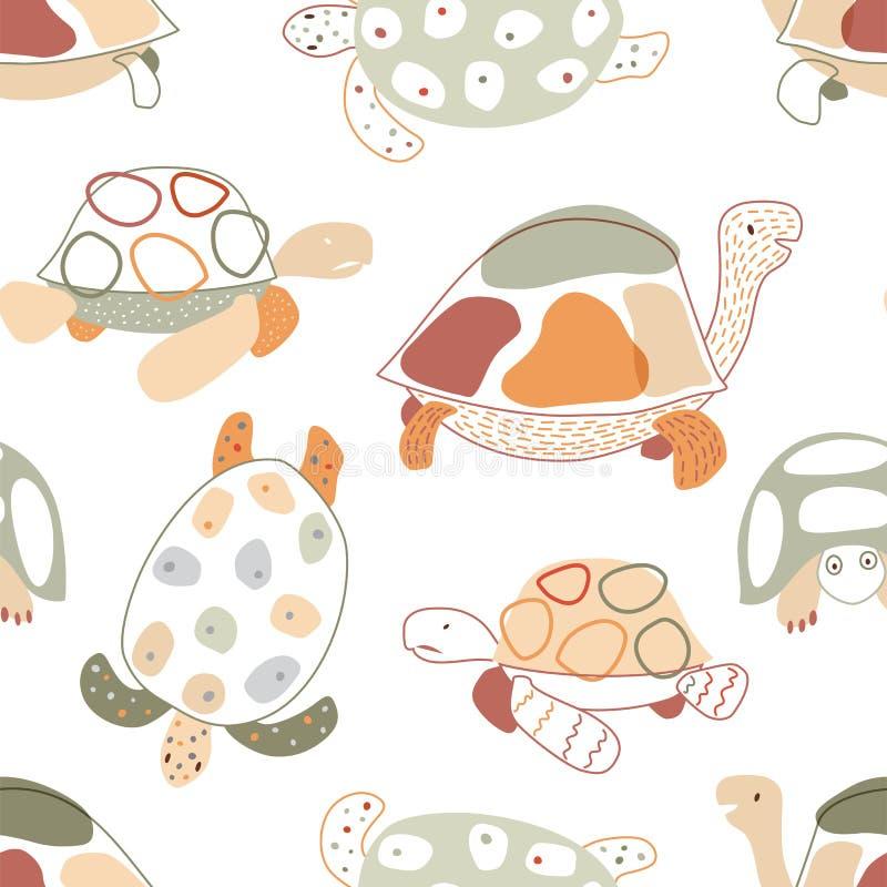 与乌龟的婴孩无缝的样式在斯堪的纳维亚样式 向量 皇族释放例证