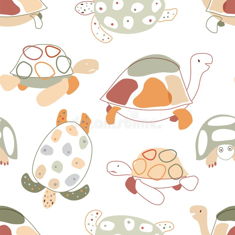 与乌龟的婴孩无缝的样式在斯堪的纳维亚样式 ?? 皇族释放例证
