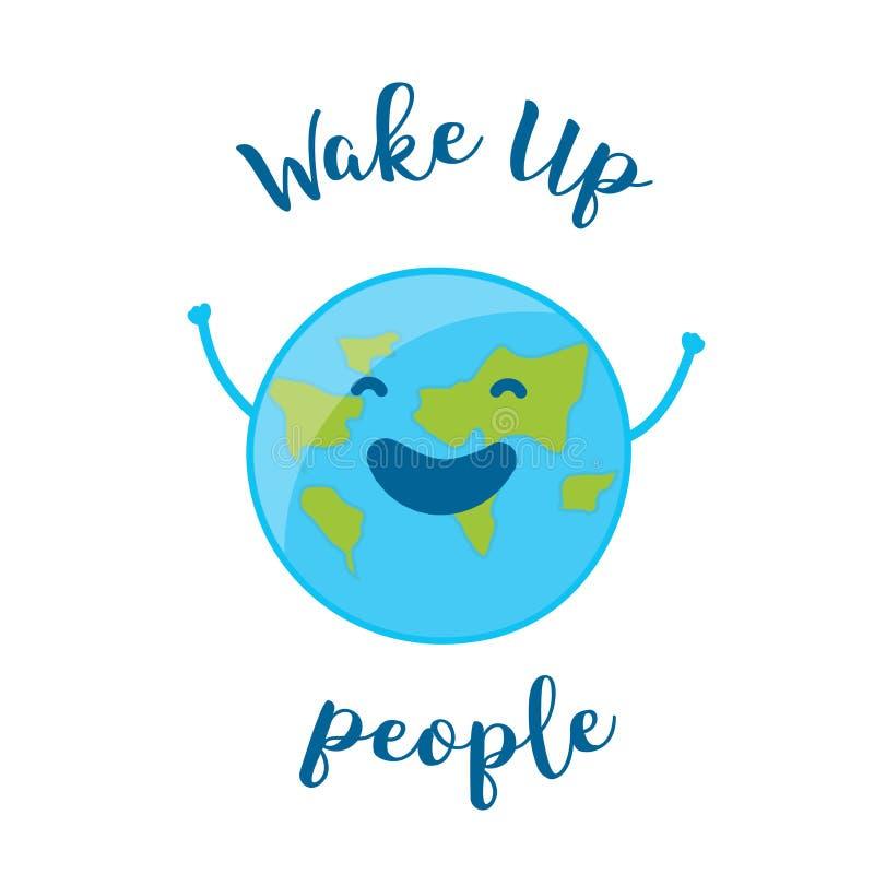 与乐趣地球的早晨好卡片 叫醒人 向量例证