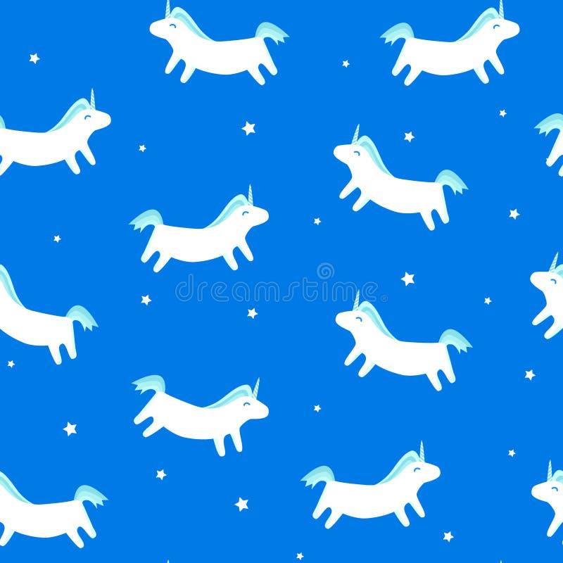 与乐趣独角兽的无缝的在蓝色背景的样式和星 纺织品和包裹的圣诞快乐装饰品 向量例证