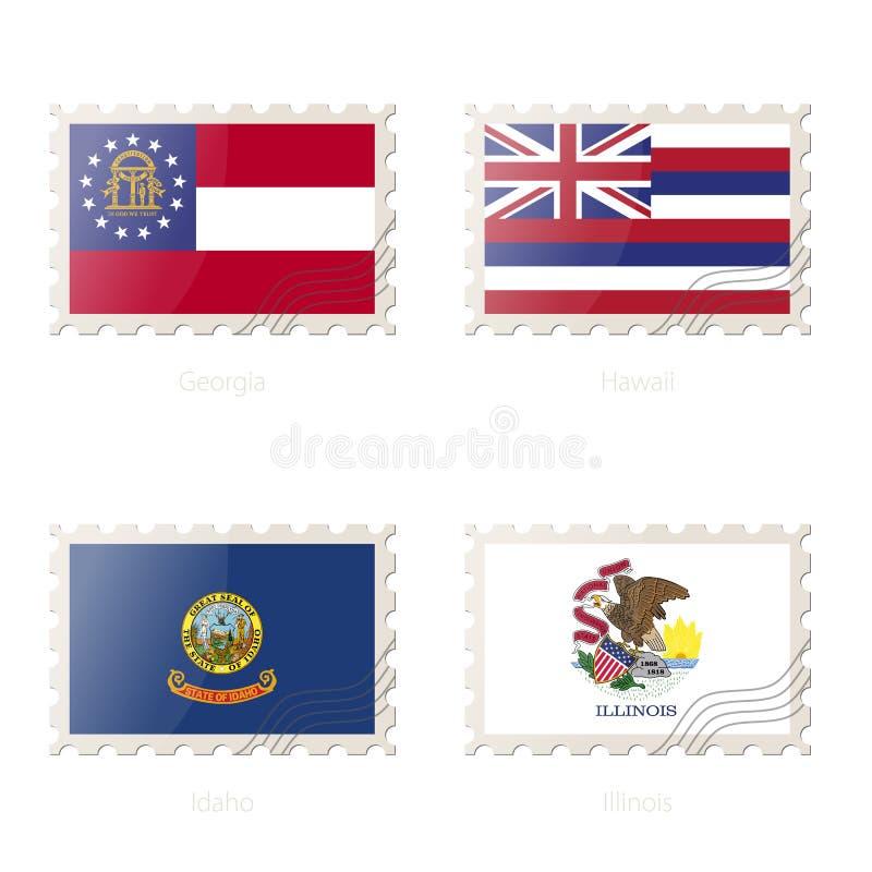 与乔治亚,夏威夷,爱达荷,伊利诺伊状态旗子的图象的邮票 库存例证