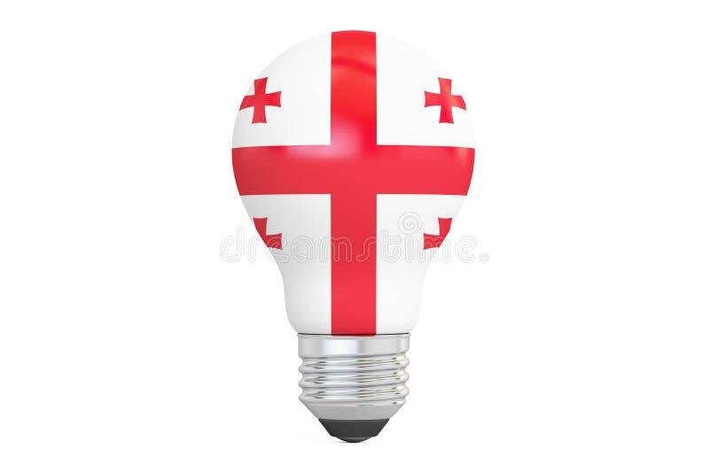 与乔治亚旗子, 3D的电灯泡翻译 库存例证
