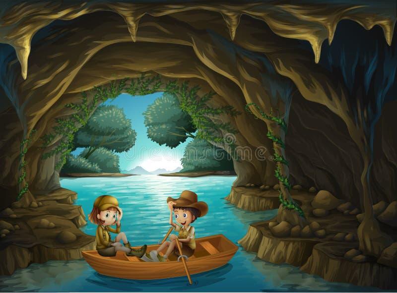 与乘坐在一条木小船的两个孩子的一个洞 向量例证