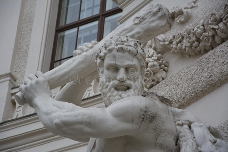 与九头蛇,霍夫堡宫,维恩,奥地利战斗的赫拉克勒斯 免版税库存图片