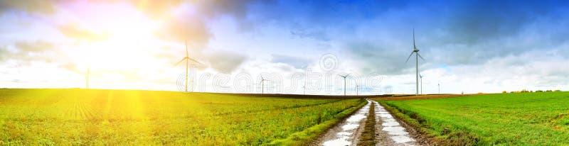 与乡下公路的全景风景 免版税库存照片
