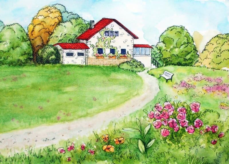 与乡下风景的水彩图画 向量例证