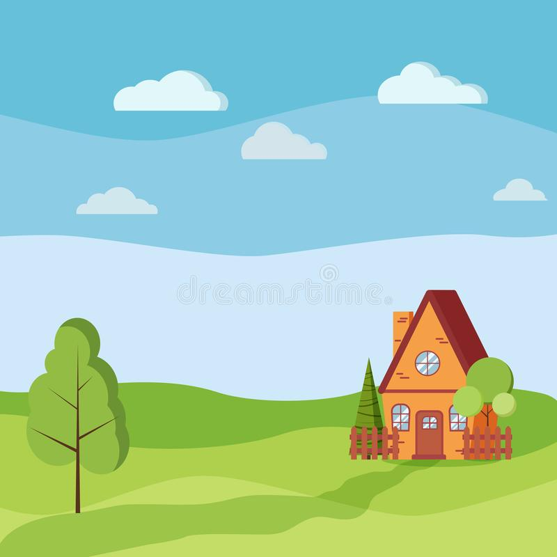 与乡间别墅的夏天或春天风景有篱芭的,绿色树,云杉,云彩,路 向量例证