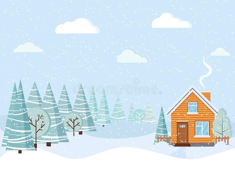 与乡间别墅的浅兰的美好的冬天风景有烟囱的,多雪的领域,冬天树,云杉,云彩,雪 库存例证