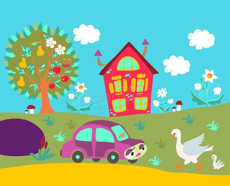 与乡间别墅、树、花、汽车和鸟的逗人喜爱的动画片例证 向量例证