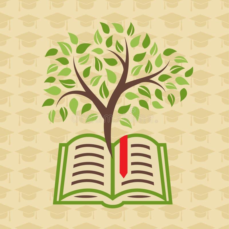 与书和树的教育概念 库存例证