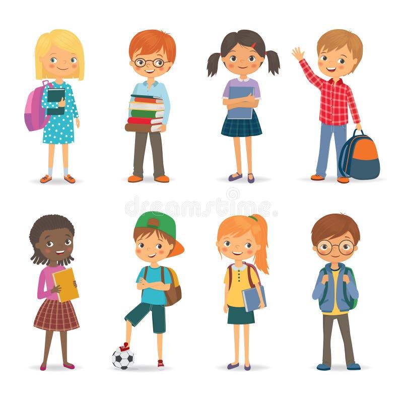 与书和背包的逗人喜爱的国际学生 向量例证