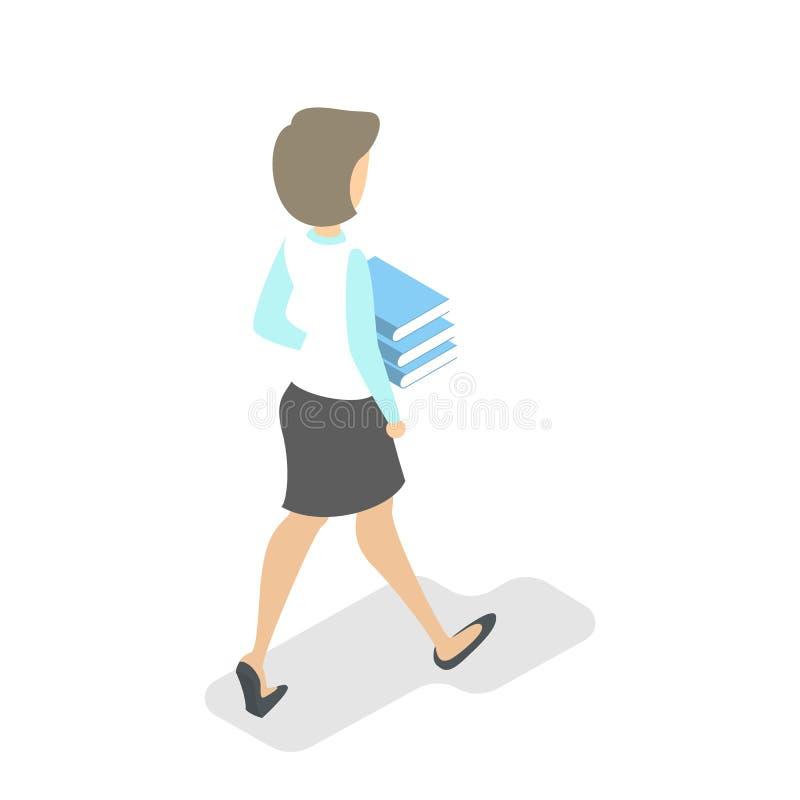 与书堆的妇女步行 书运载 皇族释放例证