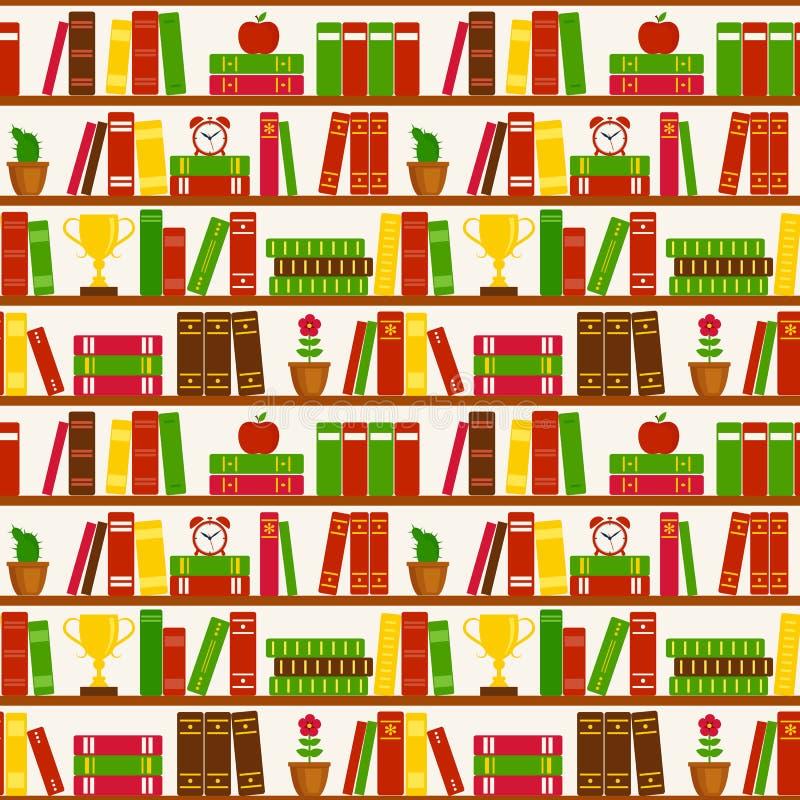 与书架的无缝的背景 上色模式可能的变形多种向量 皇族释放例证