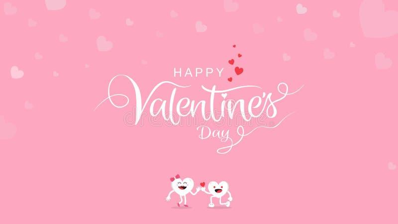 与书法手写的情人节背景与在桃红色背景的逗人喜爱的动画片 向量例证