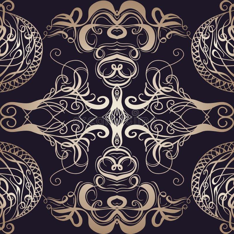 与书法装饰元素的无缝的样式 纸牌或书的盖子装饰品 葡萄酒花卉手拉的illustra 向量例证