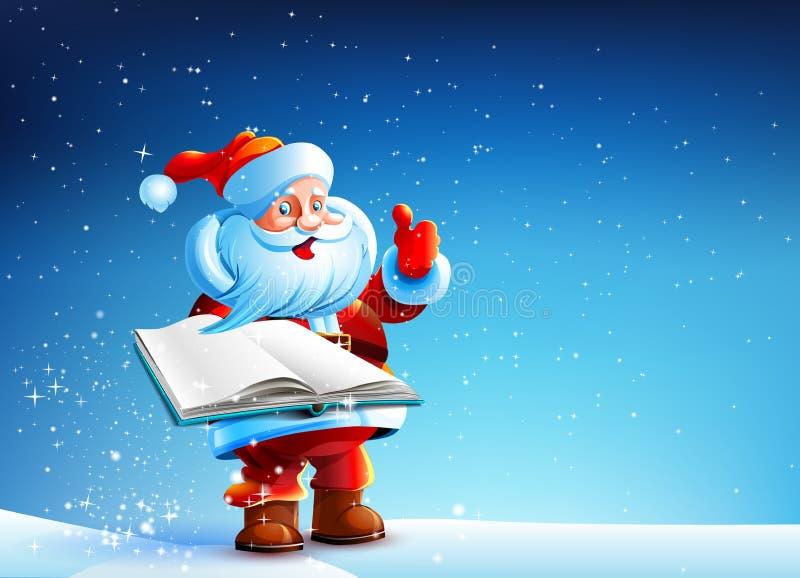 与书的圣诞老人 库存例证