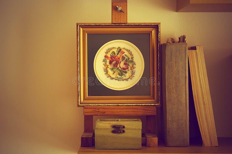 与书的壁饰挂毯 免版税图库摄影