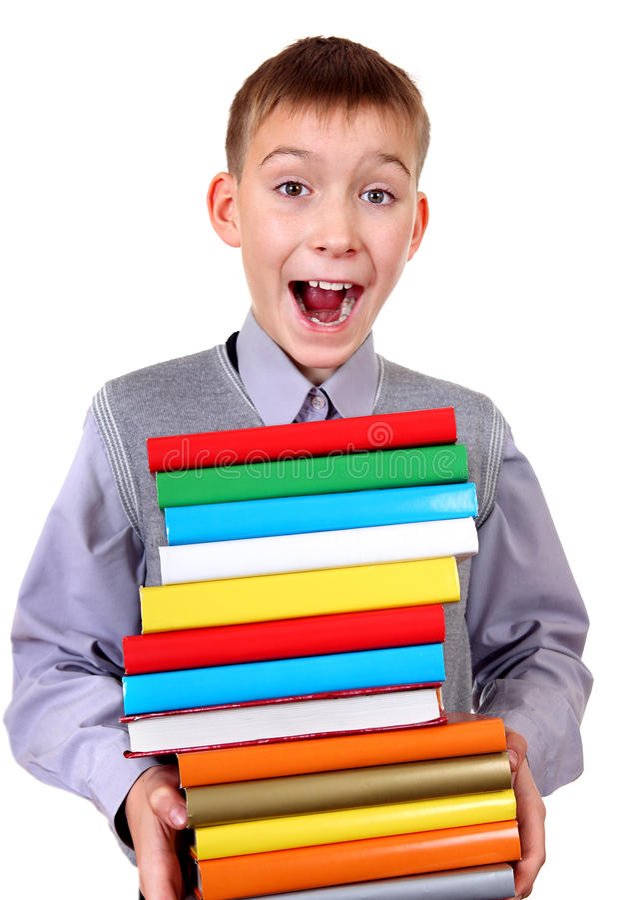 与书的孩子 免版税库存照片