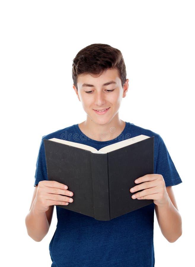 与书的少年孩子 免版税库存照片