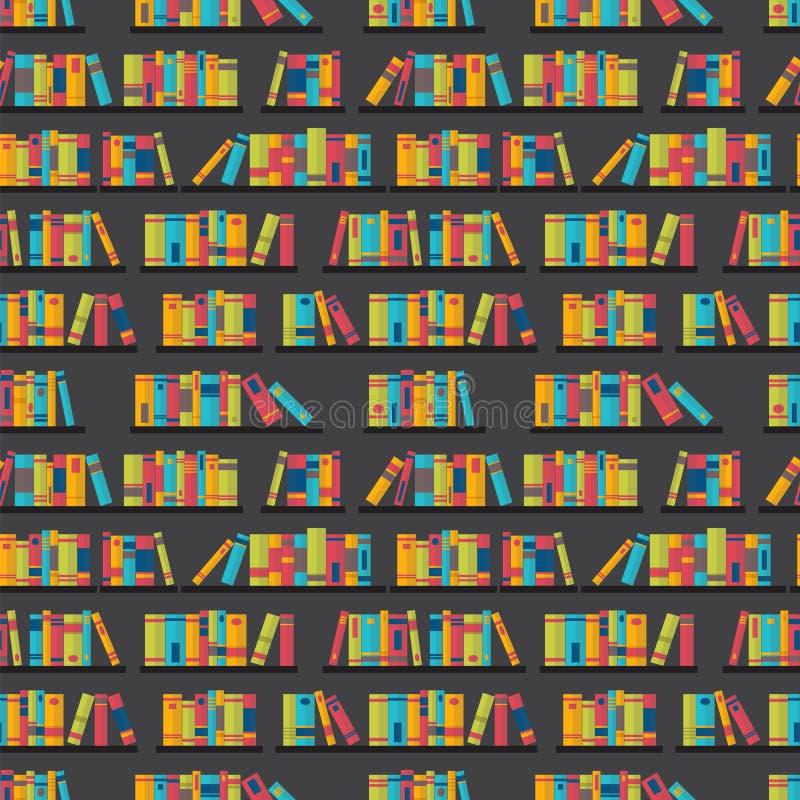 与书的无缝的样式在书架 平的设计 图书馆,书店 向量例证
