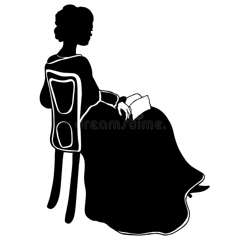 与书的有吸引力的坐的女孩剪影 作在维多利亚女王时代的样式的葡萄酒女性剪影 古色古香的礼服,披肩 向量例证