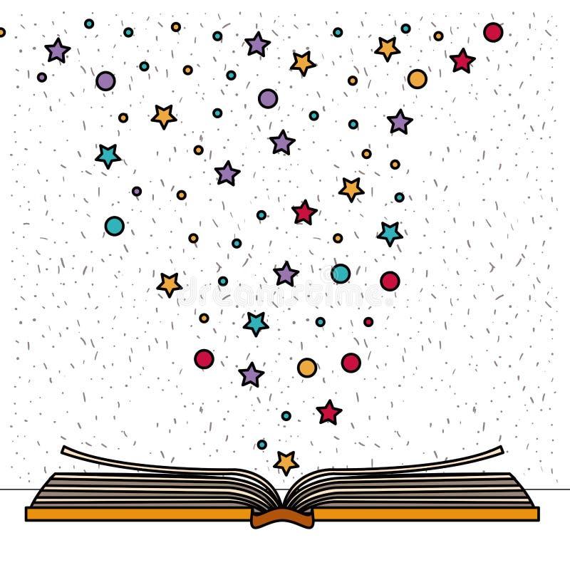 与书的白色背景开放与星和小点闪闪发光  向量例证