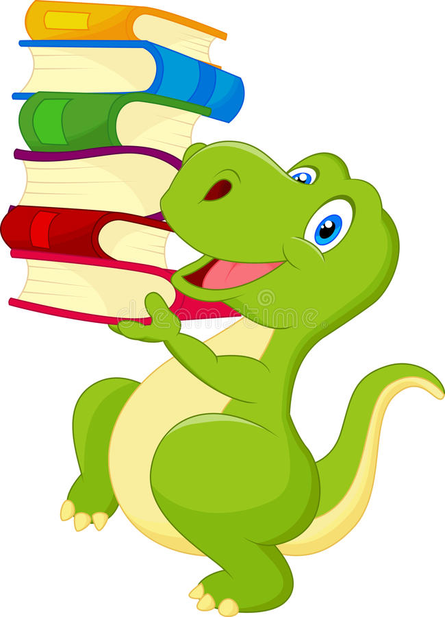与书的逗人喜爱的恐龙 库存例证