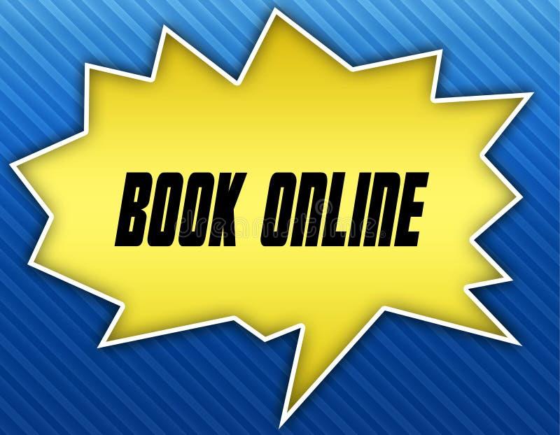 与书网上消息的明亮的黄色讲话泡影 背景蓝色镶边了 向量例证