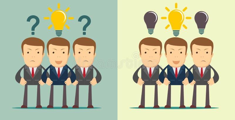 与买卖人人群的领导概念有问号和想法的在开放头 库存例证
